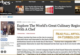 Master Chef Erik Blauberg and Culinary Passport featured on Forbes.com